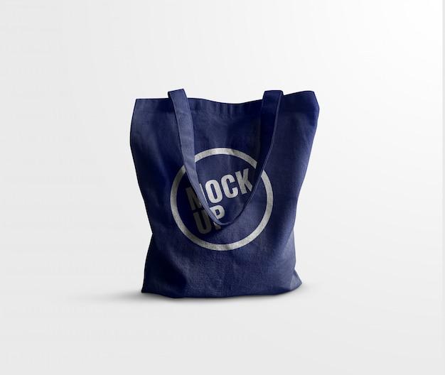 Jean canvas bag mockup realistic
