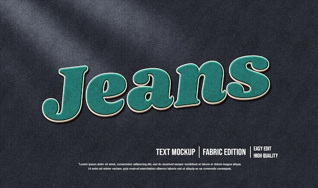 Jeans 3d text style effect template