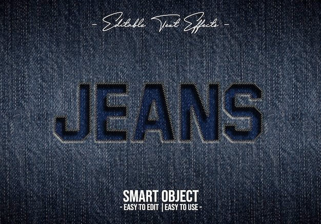 Эффект стиля текста джинсов