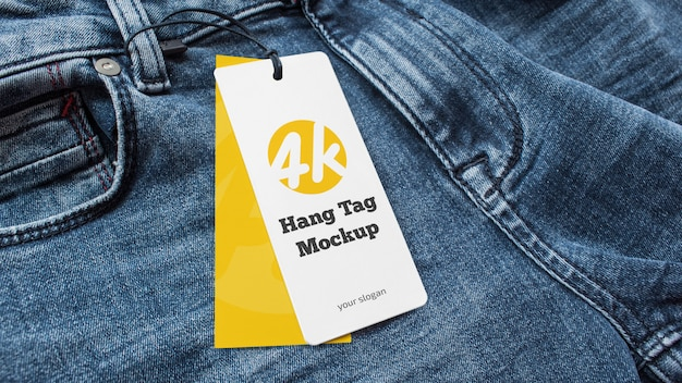 Jeans with a price tag design mockup