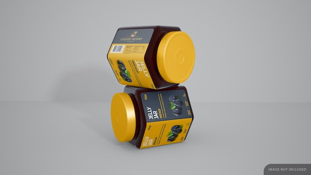 Jelly jar with label sticker mockup