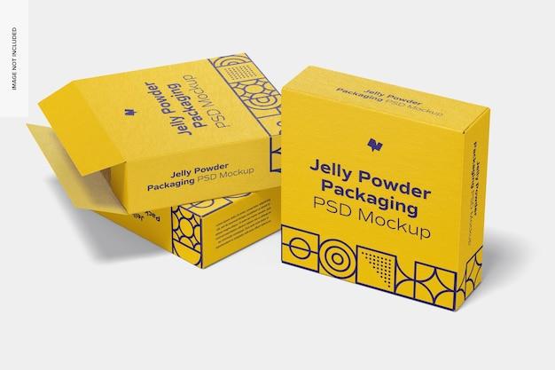 Мокап упаковки желейного порошка, вид справа