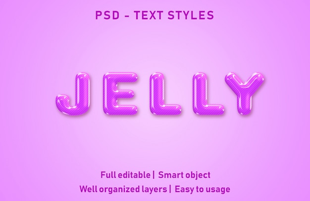 Текстовые эффекты в стиле желе редактируемые psd