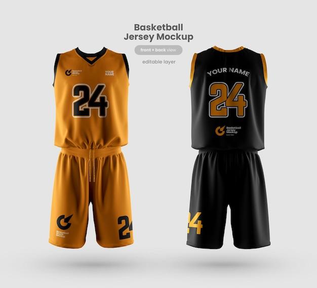 バスケットボールクラブの正面図と背面図のジャージーモックアップ