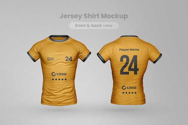 Jersey t shirt mockup front and back view