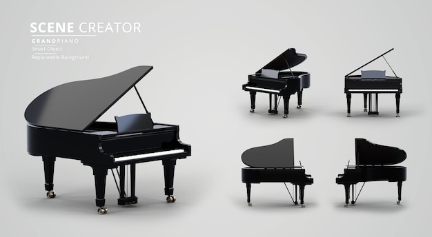 Jet black grand piano scene creator