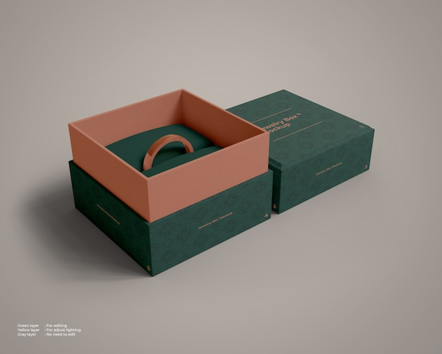 Jewelry box open mockup with a ring inside