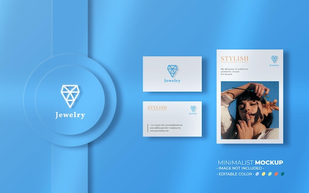 Jewelry stationery mockup composition