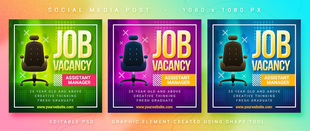 Job vacancy social media post