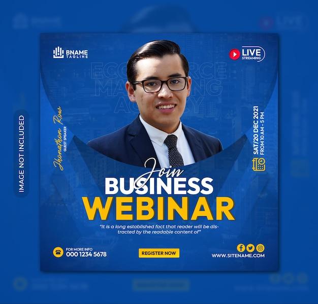 Join business webinar square flyer or instagram banner social media post template