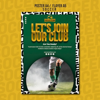 Join the club school of soccer poster template