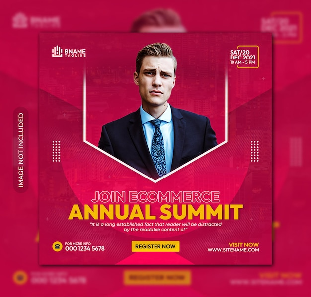 Join ecommerce annual summit square flyer or instagram banner social media post template