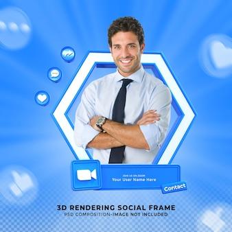 Присоединяйтесь ко мне в социальных сетях zoom в нижней трети 3d-дизайна, визуализируйте значок значка с рамкой