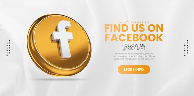 Join us on facebook with 3d gold render icon for social media banner Premium Psd