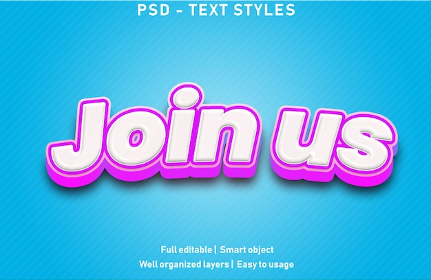 Join us text effects style editable psd