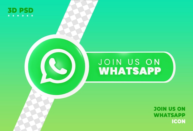 Join us on whatsapp render icon badge isolated