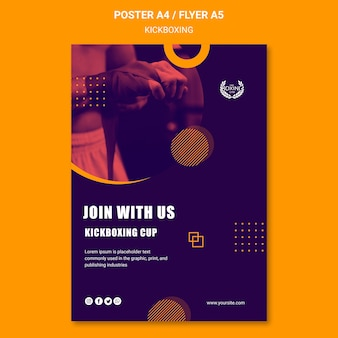 Join with us kickboxing poster template