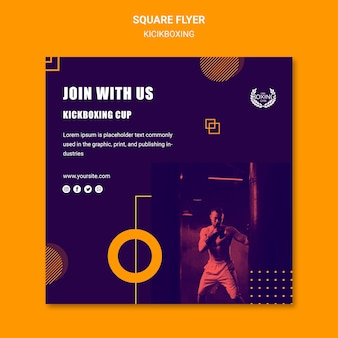 Join with us kickboxing square flyer template