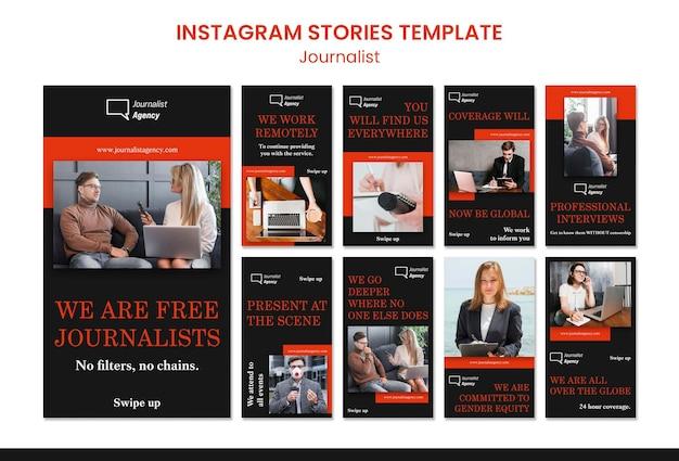 Modello di storie di instagram di concetto di giornalista
