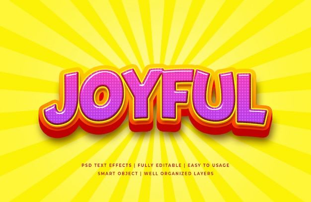 Joyful cartoon 3d text style effect