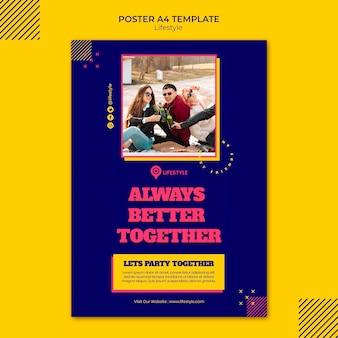 Joyful lifestyle poster template