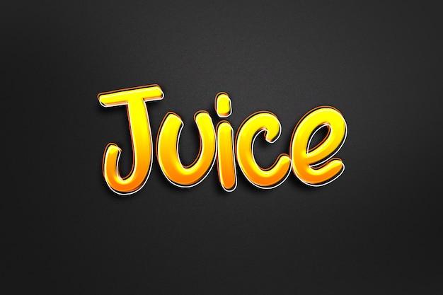 Шаблон с эффектом стиля текста 3d апельсиновый сок