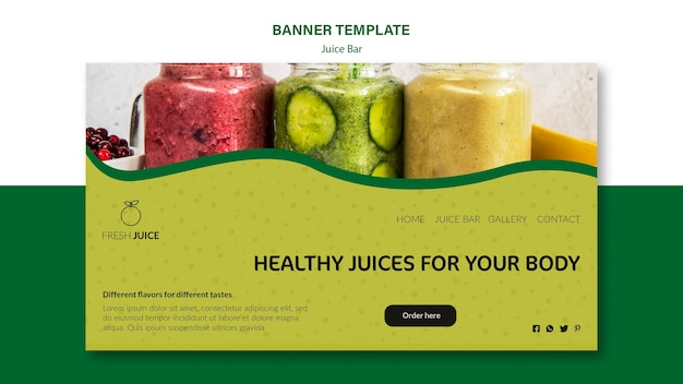 Juice bar banner template style