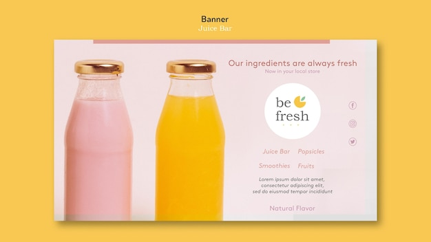 Juice bar banner template