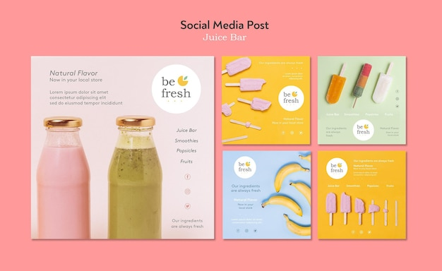 Juice bar social media post template