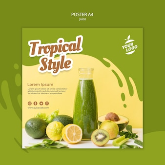 Juice bar square flyer template