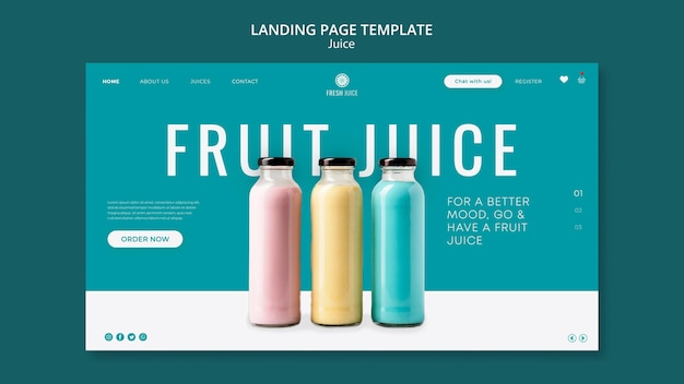 Juice bottle landing page template