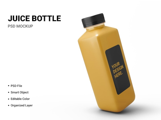 Juice bottle mockup design isolated