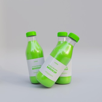 Бутылка сока реалистичный макет