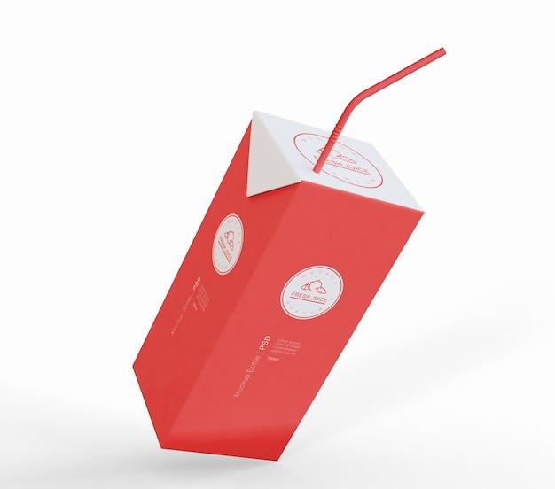 Макет упаковки картонной упаковки сока
