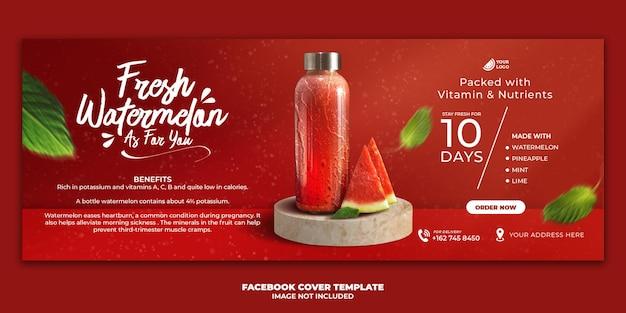 Juice drink menu facebook cover banner template for restaurant promotion