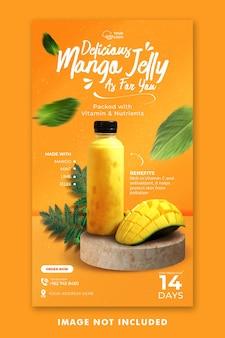Juice drink menu social media instagram stories template for restaurant promotion
