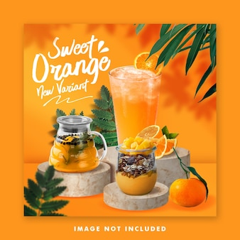 Juice drink menu social media post banner instagram template for promotion