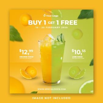 Juice drink menu social media post template