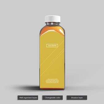 Дизайн мокапа стеклянной бутылки сока
