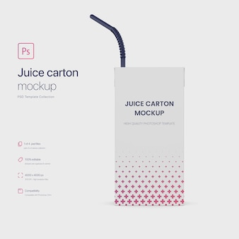 Juice paper carton packaging with straw mockup
