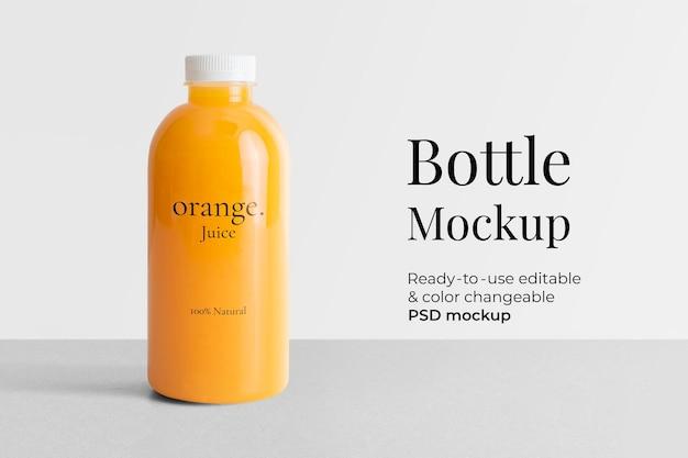 Succo di bottiglia di plastica mockup psd con confezione del prodotto etichetta