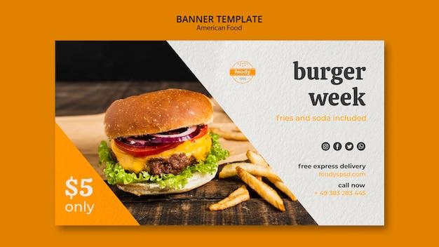Banner per la consegna espressa gratuita della settimana succosa di hamburger