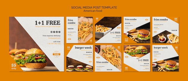 Juicy burger week social media post template