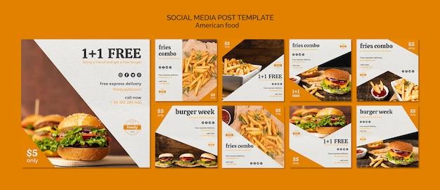 Modello di post social media succosa hamburger settimana