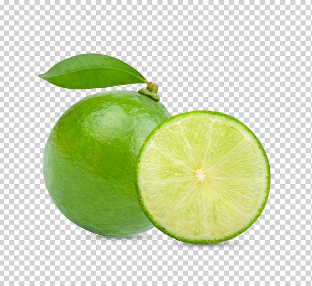 고립 된 녹색 잎을 가진 육즙 신선한 라임 감귤 류
