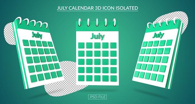Июльский календарь 3d значок изолированные