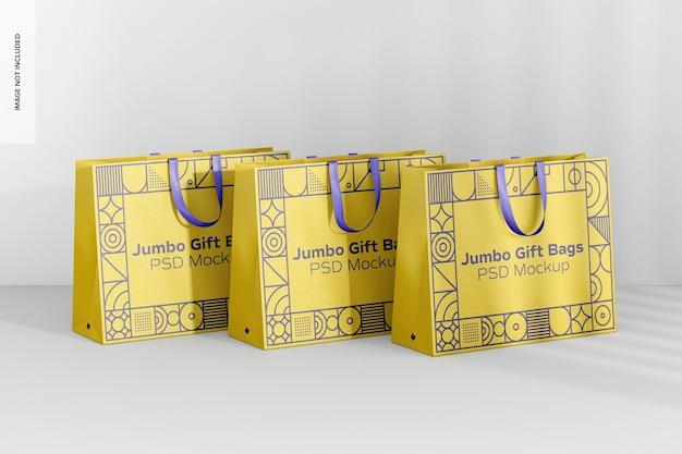 Мокап набора подарочных пакетов jumbo с ручкой-лентой