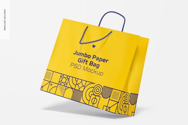 Бумажный подарочный пакет jumbo с макетом ручки из веревки, перспектива