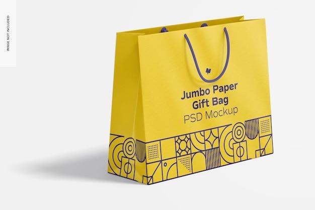 Бумажный подарочный пакет jumbo с макетом с веревочной ручкой