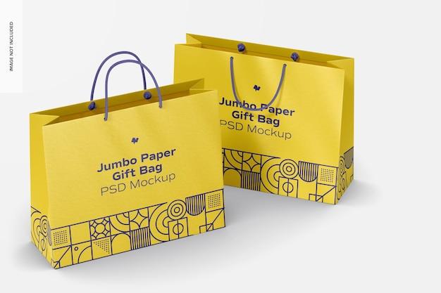 Мокап бумажных подарочных пакетов jumbo с веревочной ручкой